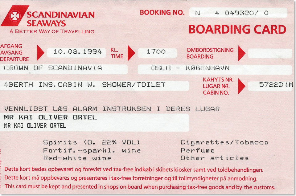 19518 11 Crown of Scandinavia Boarding Card 1994 Kai Ortel